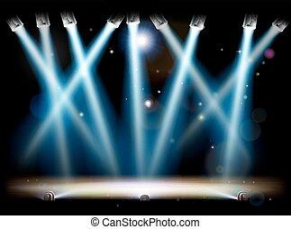 luci della ribalta, riflettori, palcoscenico