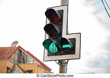 luci, destra, traffico, verde, freccia