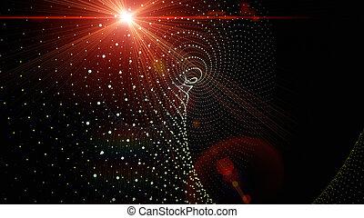 luci, futuristico, disegno, fondo, particella