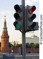 luci, mosca, traffico, torre, cremlino