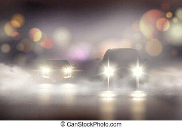 luci, nebbia, composizione, realistico, automobile