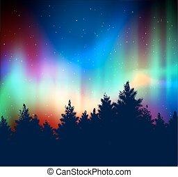 luci, paesaggio, inverno, settentrionale