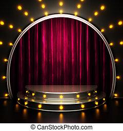 luci, palcoscenico, tenda rossa