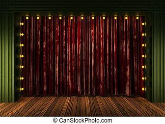 luci, palcoscenico, velluto, tenda rossa