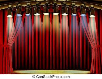 luci punto, vuoto, tenda, rosso, palcoscenico