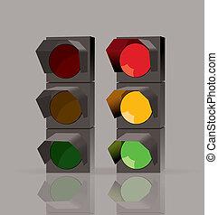 luci, set, vettore, traffico