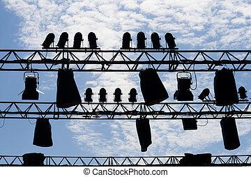 luci, silhouette, cielo, palcoscenico