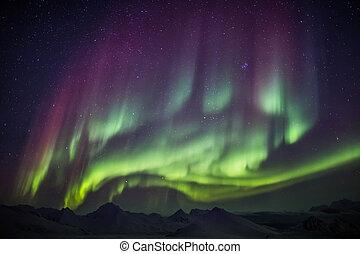 luci, spitsbergen, settentrionale, artico