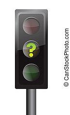 luci, traffico, giallo, domanda