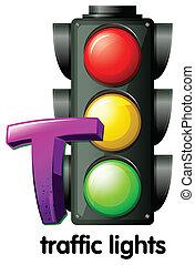luci, traffico, t, lettera