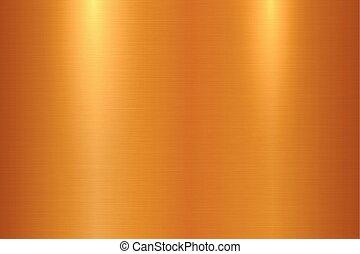 lucidato, superficie metallo spazzolata, metallico, fondo, baluginante, texture., bronzo