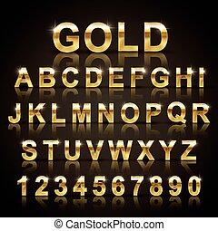 lucido, font, set, dorato, disegno