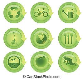 lucido, freccia, ecologico, icona, set