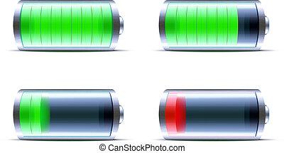 lucido, icona, batteria, indicatore, livello