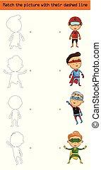 lucifer, de, afbeelding, (set, van, karakter, superhero, kids)