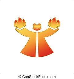 Lucifer - Red cartoon style devil holding fire vector...