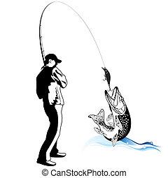 lucio, agarrado, pescador