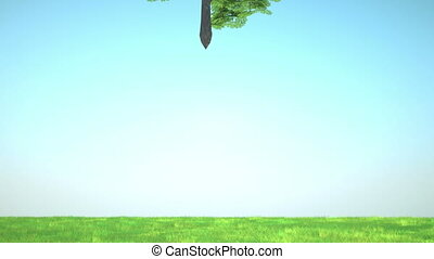 Luck: Abstract clover tree sticks into green glade with...