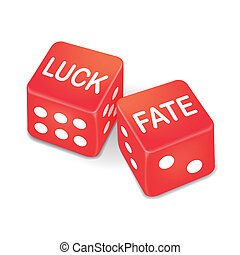 luck and fate words on two red dice