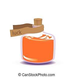 luck potion. orange liquid