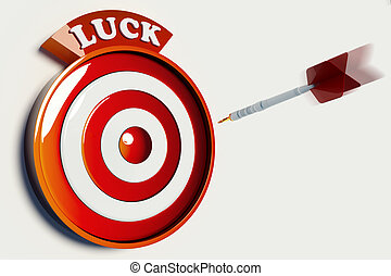 LUCK TARGET - Darts hitting the red bullseye of a luck...