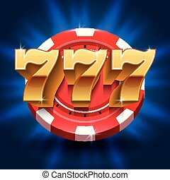 Lucky 777 numbers win slot background. Vector gambling and casino concept
