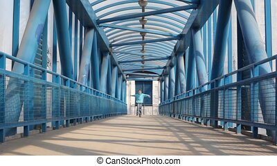 Lucky boy on bridge