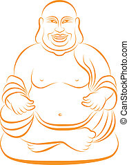 lucky buddha, vector - lucky buddha sitting in lotus pose,...