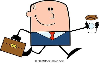 Businessman Running To Work - Lucky Businessman Running To...