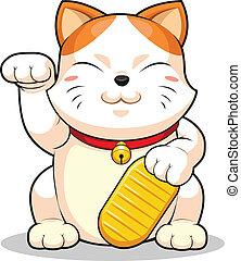 Lucky Cat (Makeni Neko) - A vector image of asian lucky cat....