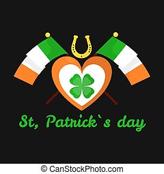 Lucky clover and horseshoe Saint Patrick day Irish holiday vector