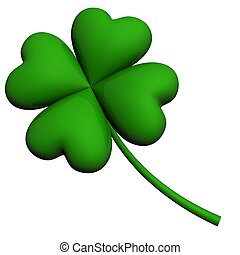 four leaf lucky clover isolated on white background