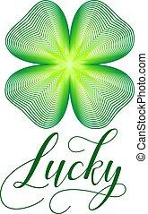 Lucky clover. St Patricks Day shamrock vector illustration.