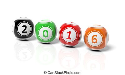 Lucky colorful balls with numbers 2016, isolated on white