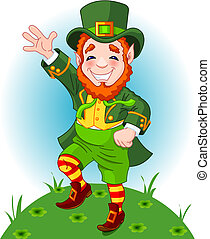 Lucky Dancing Leprechaun - Full length drawing of a...