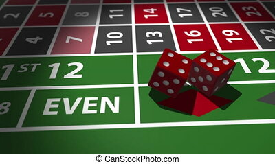 Lucky Dice rolling. Red dices falling on casino table in...