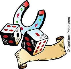 Lucky dice with horseshoe tattoo style illustration