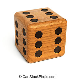 Lucky dice - Wooden dice with the number six on all sides ...