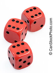 Lucky Dices - Three red dices over white background