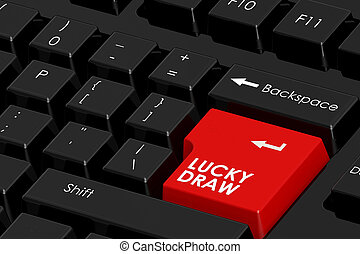 Lucky draw word on black computer keyboard