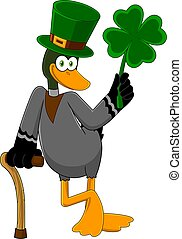Lucky Duck Leprechaun Cartoon Character Holding A Leaf Clover
