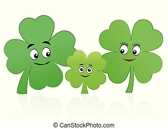 Lucky Family Clover Leaf Mother Father Child
