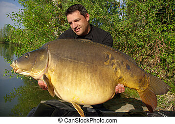 Lucky fisherman holding a giant mirror carp