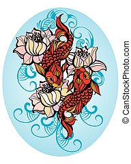 Lucky fishes - Hand drawn fish (Koi carp) with flowers -...