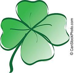 Lucky four leaf clover color vector illustration