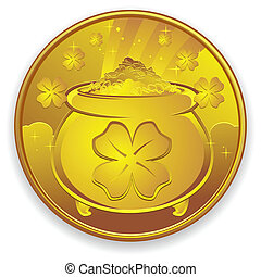 A very lucky gold coin, covered in four leaf clovers and a pot of gold