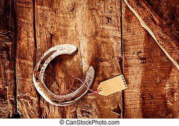 Lucky horseshoe background with gift tag