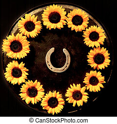 Lucky horseshoe with sunflowers