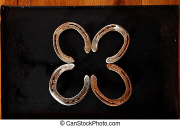 Lucky horseshoes still life background
