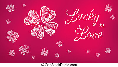Lucky in Love purple greeting banne